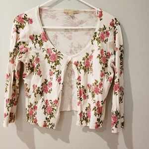 Forever 21 90s Style Cropped Floral Cardigan